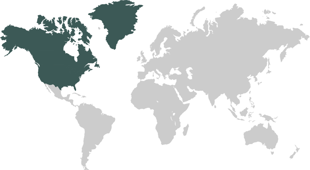 World Map Featuring North America